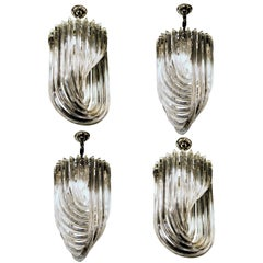Carlo Nason, Four Curvati Murano Small Chandeliers, Crystal Triedri, Magnificent