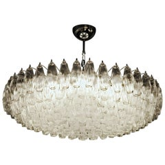 Midcentury Poliedri Chandelier, Clear, Murano Made