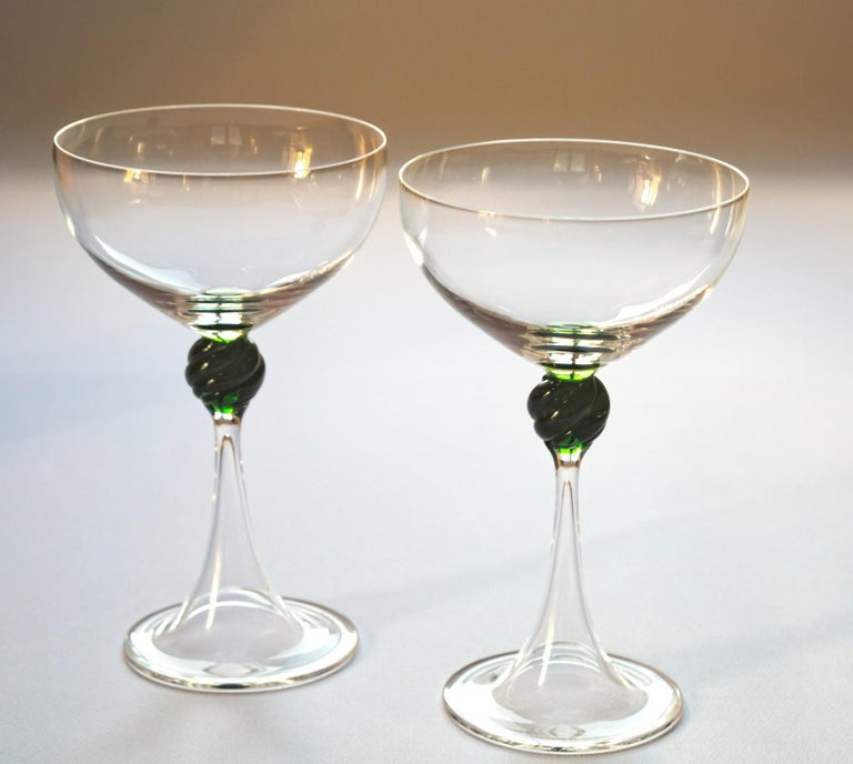 Art Glass Set of Two Caravaggeschi Martini Murano Glass, Cenedese, Clear Green Signed For Sale