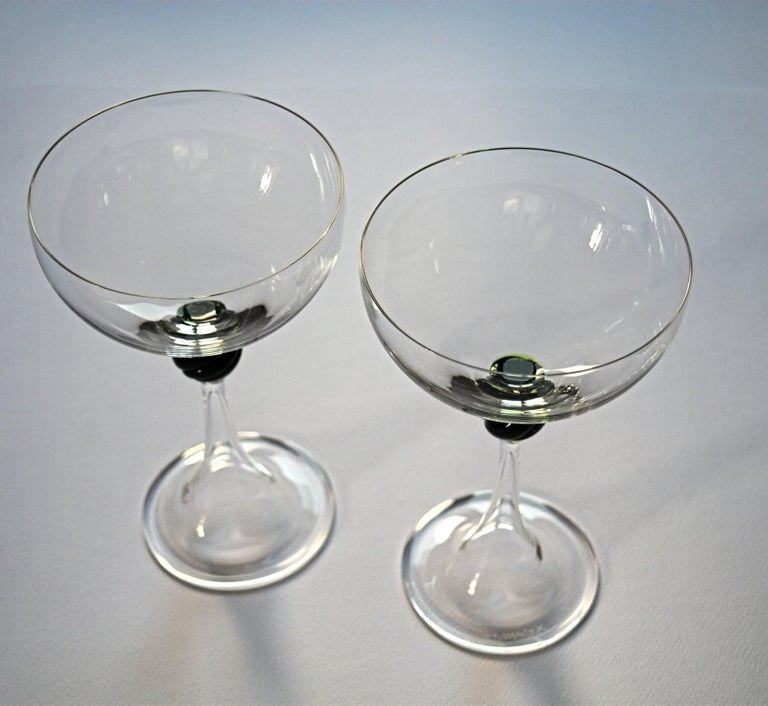 Set of Two Caravaggeschi Martini Murano Glass, Cenedese, Clear Green Signed In Excellent Condition For Sale In Tavarnelle val di Pesa, Florence