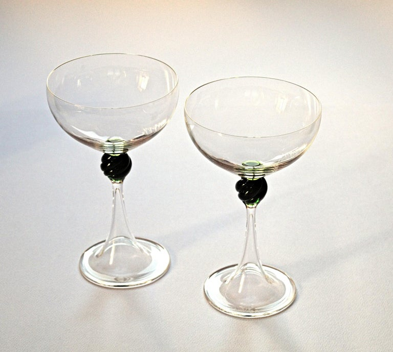 Mid-20th Century Set of Two Caravaggeschi Martini Murano Glass, Cenedese, Clear Green Signed For Sale