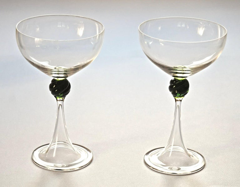 Italian Set of Two Caravaggeschi Martini Murano Glass, Cenedese, Clear Green Signed For Sale