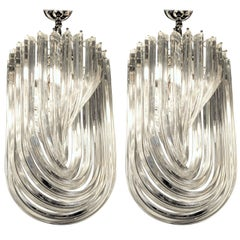 Carlo Nason Certified, Pair of Midcentury Curvati Chandeliers Clear Triedri 1980
