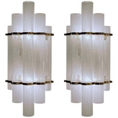 Two Pairs of Cylinders Pulegoso Sconces, Murano, Seguso VA Style