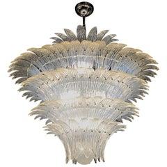 Large Palmette Opaline Murano Chandelier, Barovier Style, Baloton Sphere Finial