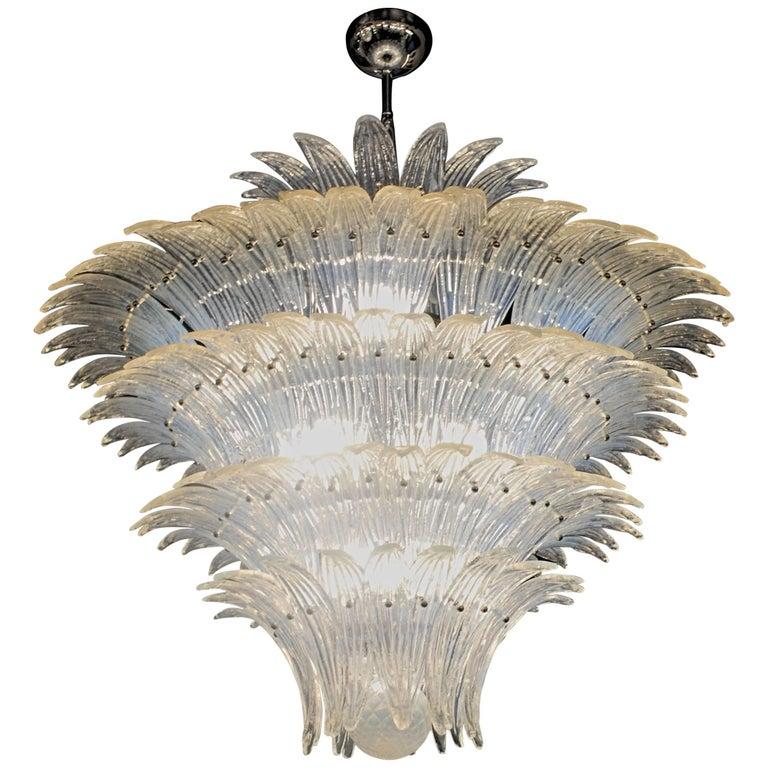 Large Palmette Opaline Murano Chandelier, Barovier Style, Baloton Sphere Finial 1