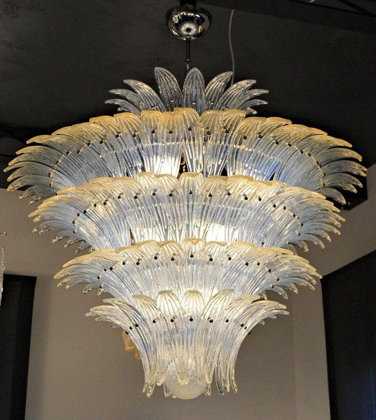 Large Palmette Opaline Murano Chandelier, Barovier Style, Baloton Sphere Finial 3