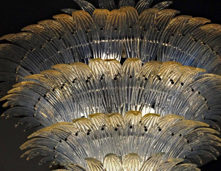 Large Palmette Opaline Murano Chandelier, Barovier Style, Baloton Sphere Finial 4
