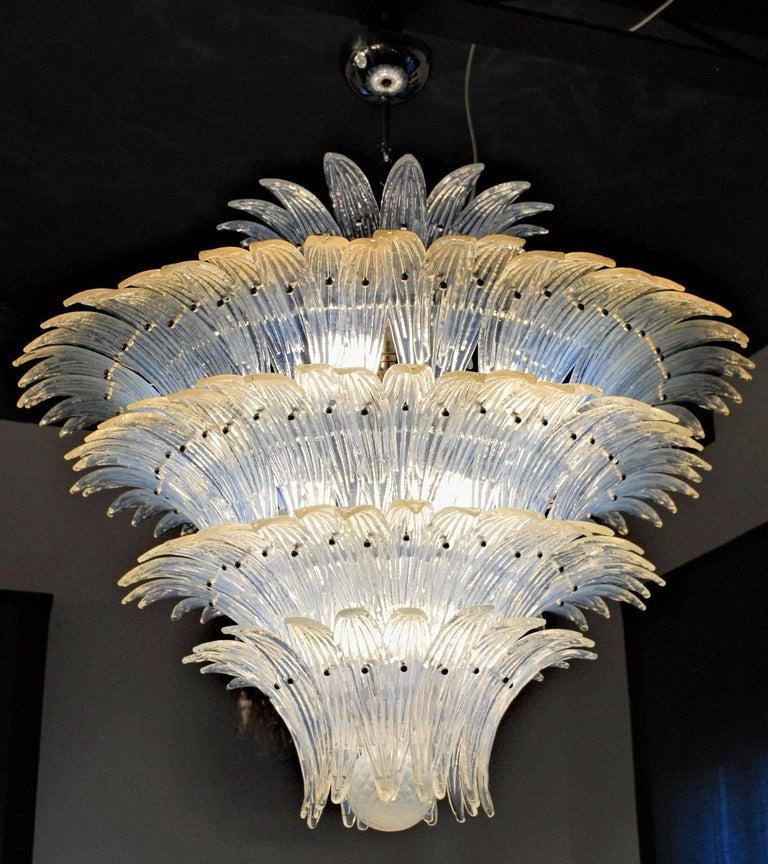 Large Palmette Opaline Murano Chandelier, Barovier Style, Baloton Sphere Finial 5