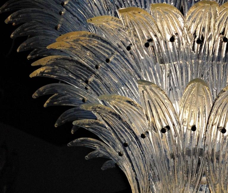 Large Palmette Opaline Murano Chandelier, Barovier Style, Baloton Sphere Finial 6
