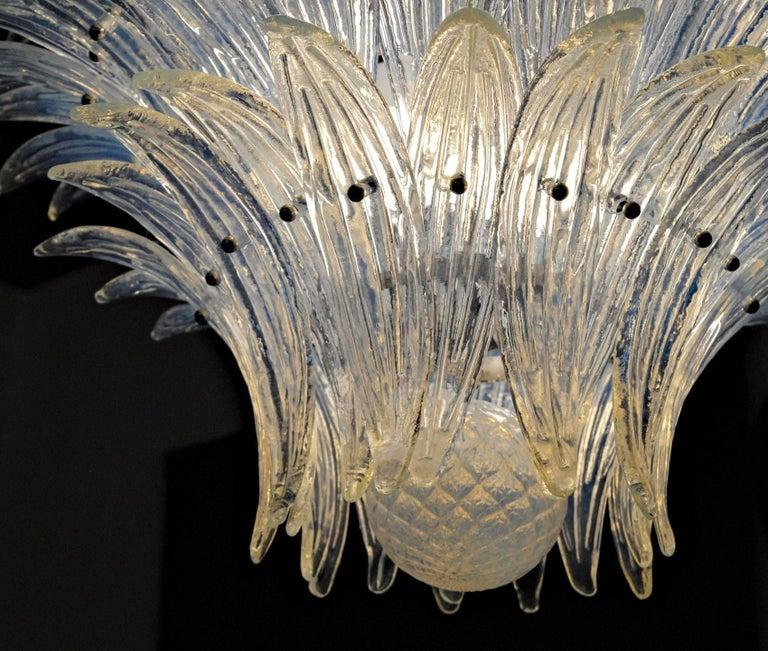 Large Palmette Opaline Murano Chandelier, Barovier Style, Baloton Sphere Finial 7