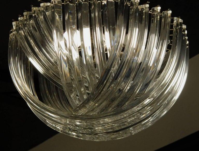 Mid-Century Modern Carlo Nason, Curvati Murano Chandelier, Clear Crystal Triedri, Four Available For Sale