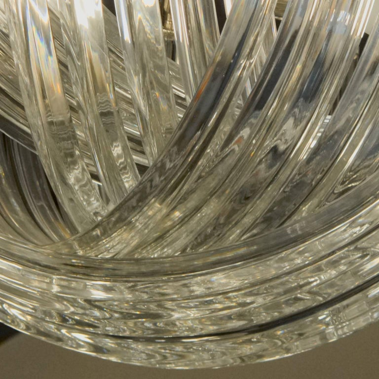 Hand-Crafted Carlo Nason, Curvati Murano Chandelier, Clear Crystal Triedri, Four Available For Sale