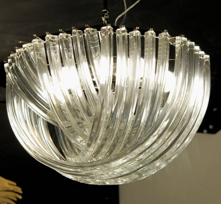 20th Century Carlo Nason, Curvati Murano Chandelier, Clear Crystal Triedri, Four Available For Sale