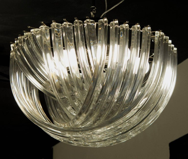 Carlo Nason, Curvati Murano Chandelier, Clear Crystal Triedri, Four Available For Sale 1