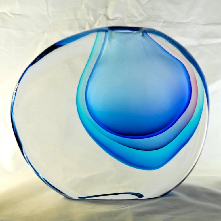 Beautiful and heavy Sommerso vase. Momento series from Antonio da Ros at Cenedese. Captivating multiple layers of colors.  Sommerso vase from the momento series, made by Cenedese. Three layers of cobalt, amethyst and aquamarine. The multiple