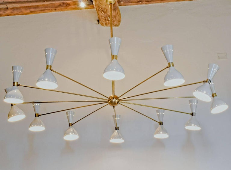 Mid-Century Modern Twelve Arms Natural Patina Brass Chandelier, Ivory Pivoting Heads, Twin Bulbs For Sale