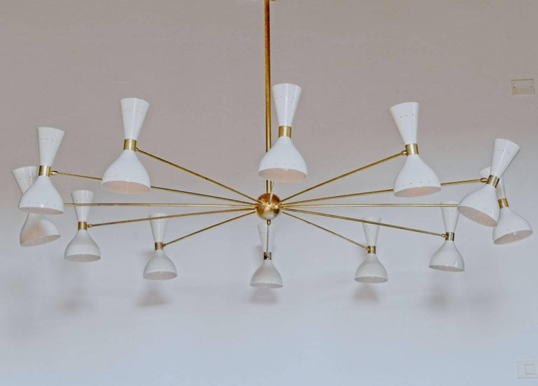 Patinated Twelve Arms Natural Patina Brass Chandelier, Ivory Pivoting Heads, Twin Bulbs For Sale