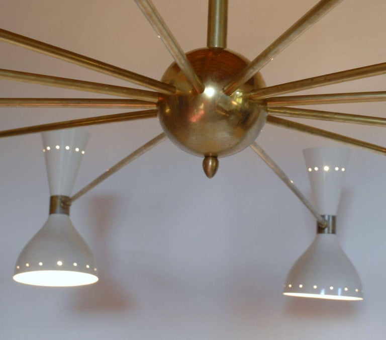 Twelve Arms Natural Patina Brass Chandelier, Ivory Pivoting Heads, Twin Bulbs For Sale 2