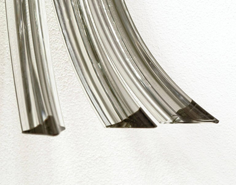 Late 20th Century Two Midcentury Murano Triedri Sconces, Acciaio Grey Filigree, 1980s For Sale