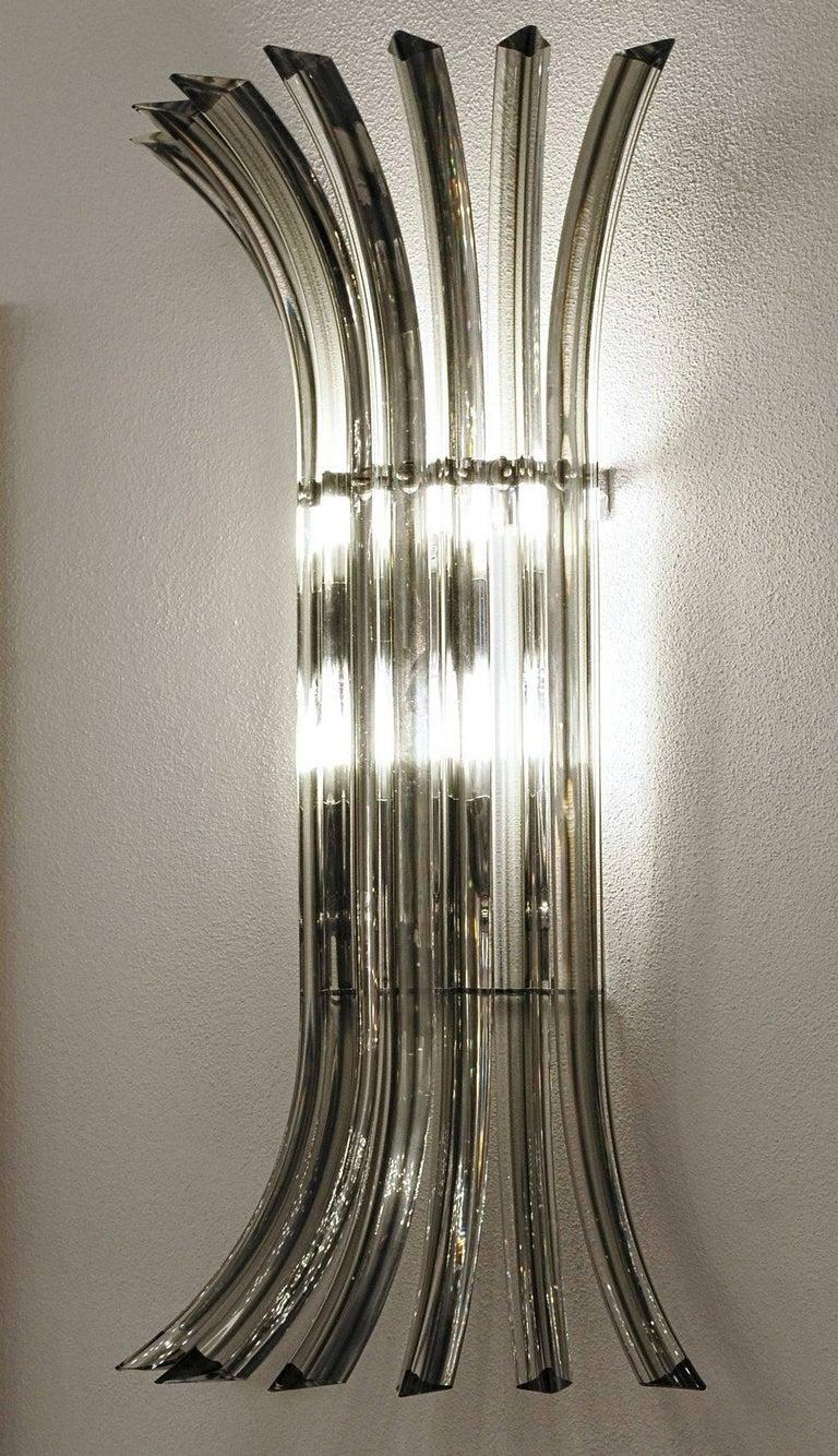 Art Glass Two Midcentury Murano Triedri Sconces, Acciaio Grey Filigree, 1980s For Sale