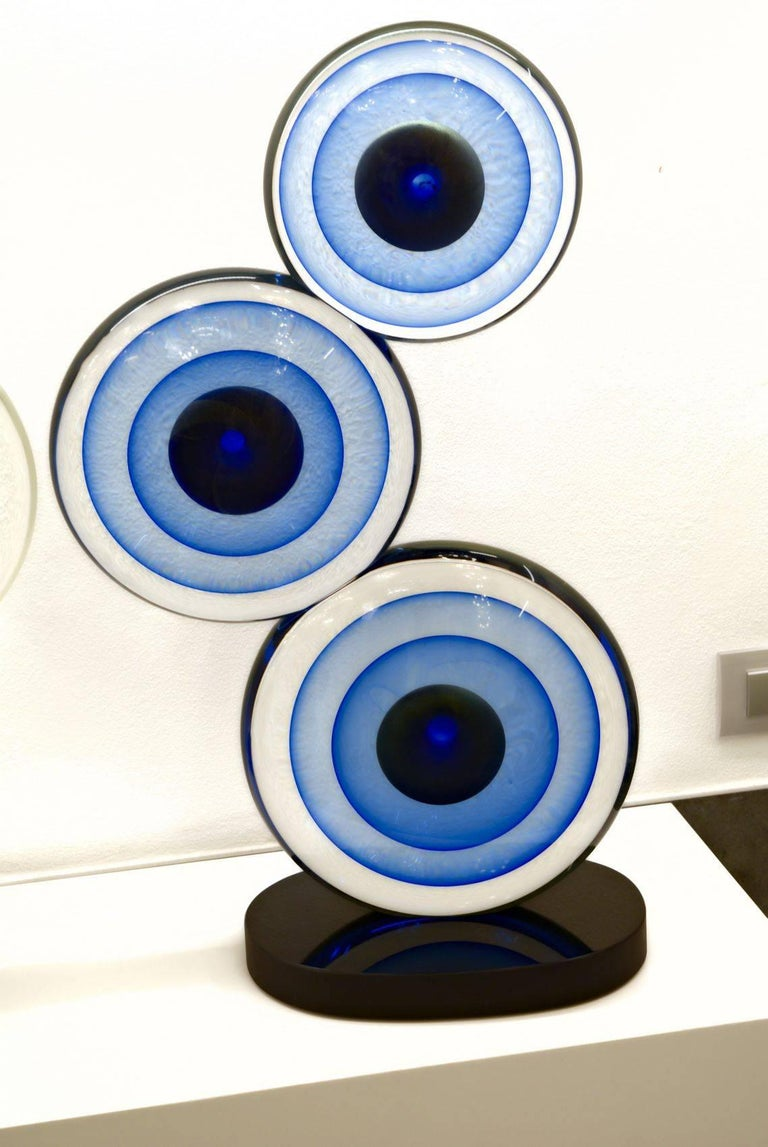 Romano Dona, Three Discs Sculpture, Black Base Cobalt Gold Centre with Sommerso For Sale 2