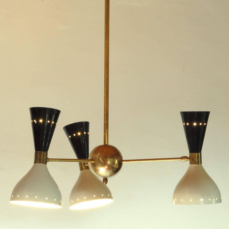 Mid-Century Modern Chandelier, Black Ivory Pivoting Shades, Twin Bulb, Patina Brass, Stilnovo Style For Sale