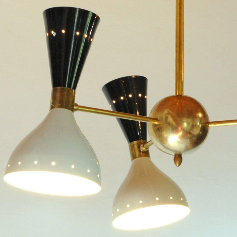 Italian Chandelier, Black Ivory Pivoting Shades, Twin Bulb, Patina Brass, Stilnovo Style For Sale