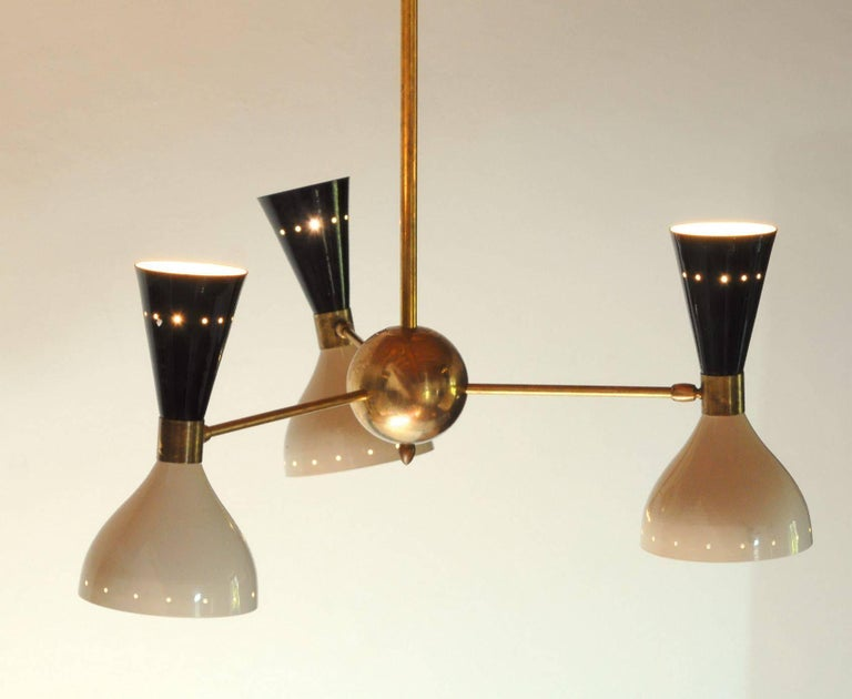 Patinated Chandelier, Black Ivory Pivoting Shades, Twin Bulb, Patina Brass, Stilnovo Style For Sale