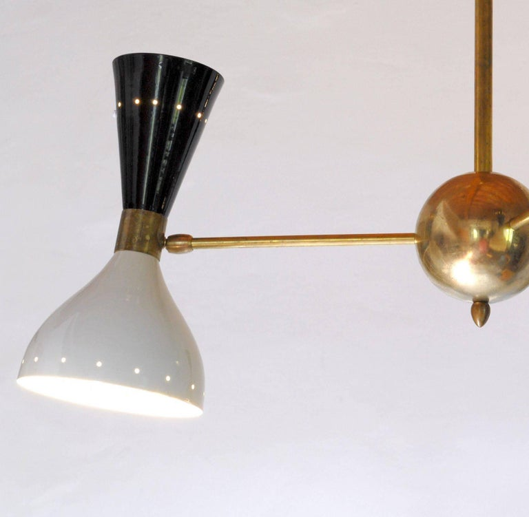 Chandelier, Black Ivory Pivoting Shades, Twin Bulb, Patina Brass, Stilnovo Style For Sale 1