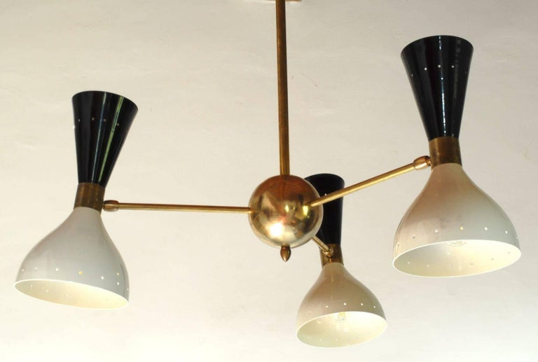 Chandelier, Black Ivory Pivoting Shades, Twin Bulb, Patina Brass, Stilnovo Style For Sale 2