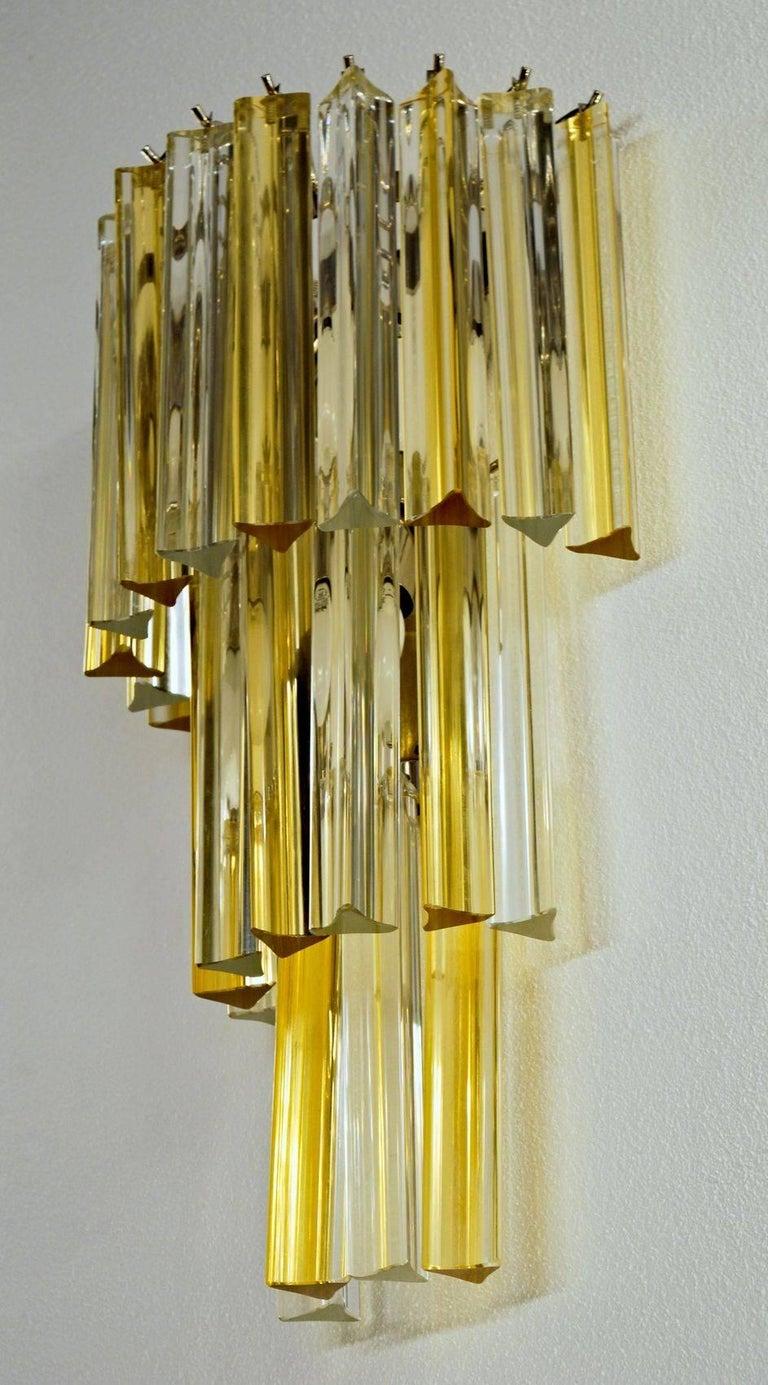 Italian Two Murano Triedri Sconces, Clear with Amber Filigree, Venini attributed For Sale