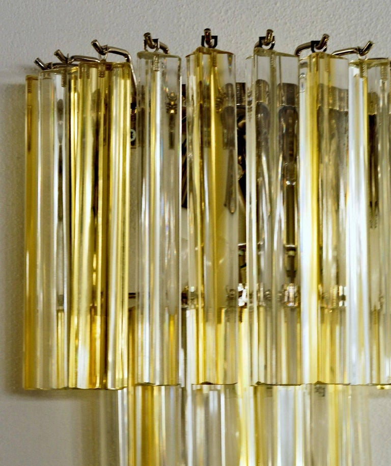 Art Glass Two Murano Triedri Sconces, Clear with Amber Filigree, Venini attributed For Sale