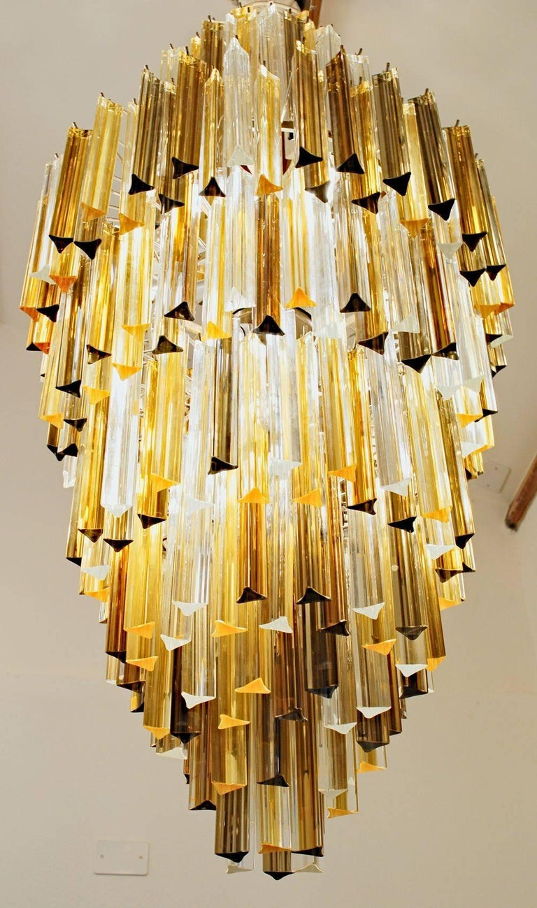 Murano Clear and two Ambers Glass Triedri Chandelier, Venini attribution, 1980s For Sale 2