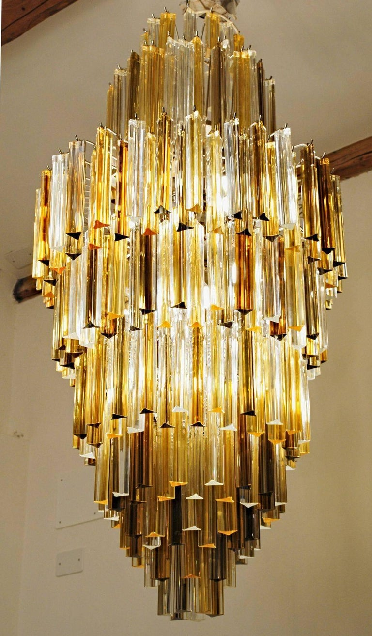 Murano Clear and two Ambers Glass Triedri Chandelier, Venini attribution, 1980s In Excellent Condition For Sale In Tavarnelle val di Pesa, Florence