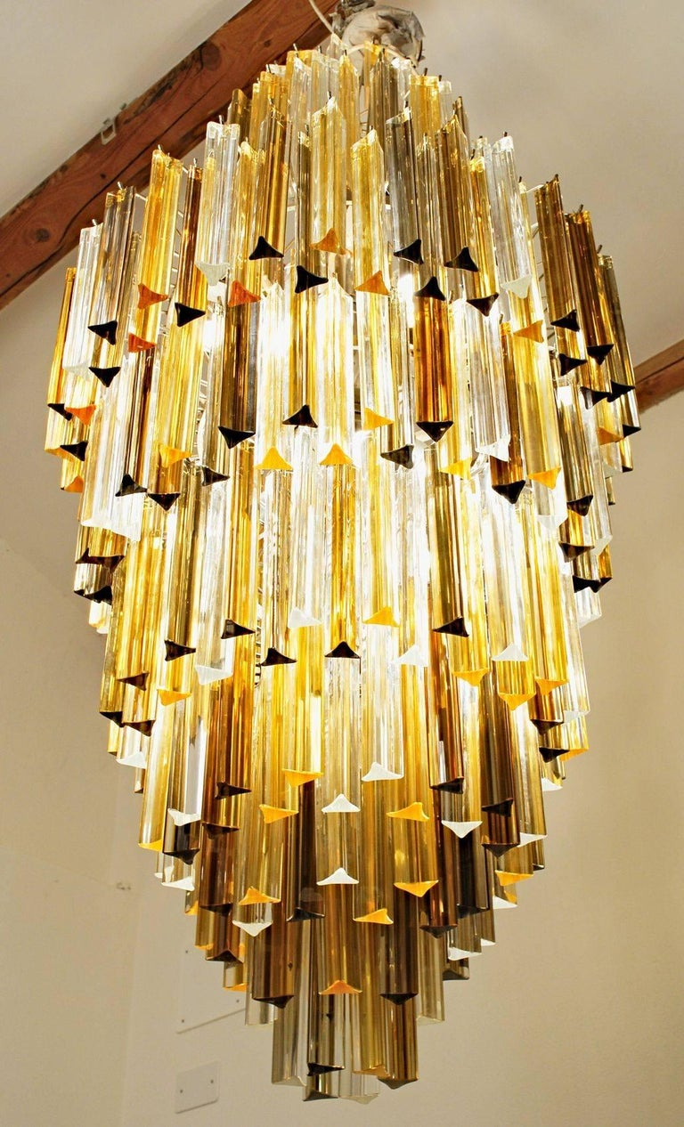 Enamel Murano Clear and two Ambers Glass Triedri Chandelier, Venini attribution, 1980s For Sale