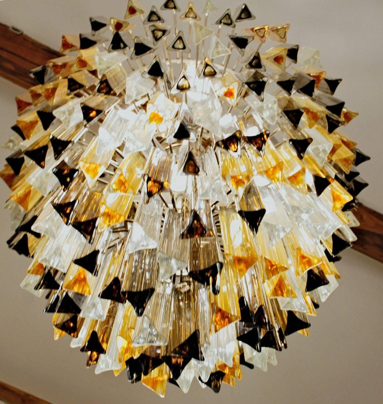 Murano Clear and two Ambers Glass Triedri Chandelier, Venini attribution, 1980s For Sale 1
