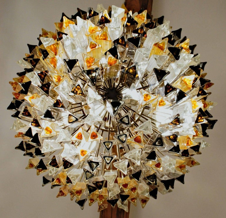 Mid-Century Modern Murano Clear and two Ambers Glass Triedri Chandelier, Venini attribution, 1980s For Sale