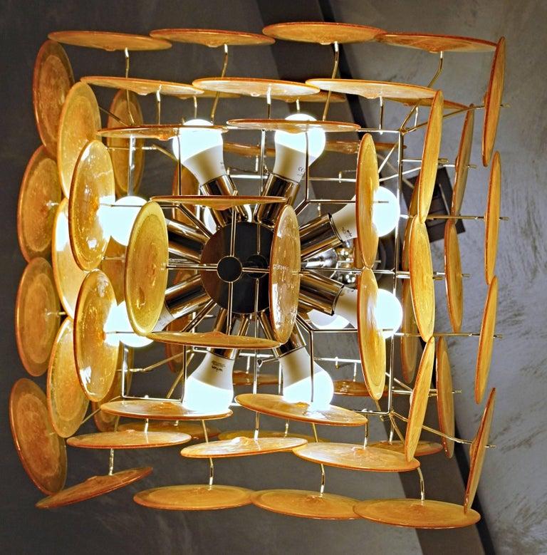 Midcentury Murano Disc Chandelier, Carlo Nason Design, Pulegoso and Amber, 1980s For Sale 1