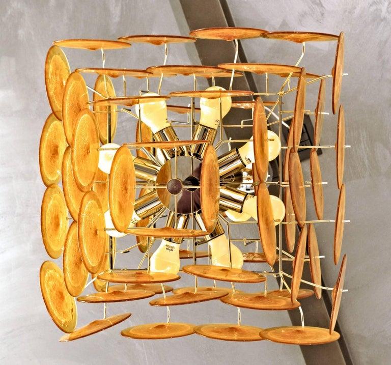 Midcentury Murano Disc Chandelier, Carlo Nason Design, Pulegoso and Amber, 1980s For Sale 2