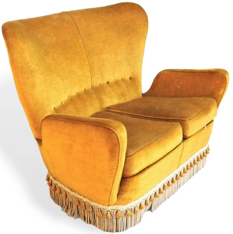 Italian Sala Madini for Galimberti Cantu Small Sofa, 1950s Fully Restored, Gold Velvet For Sale