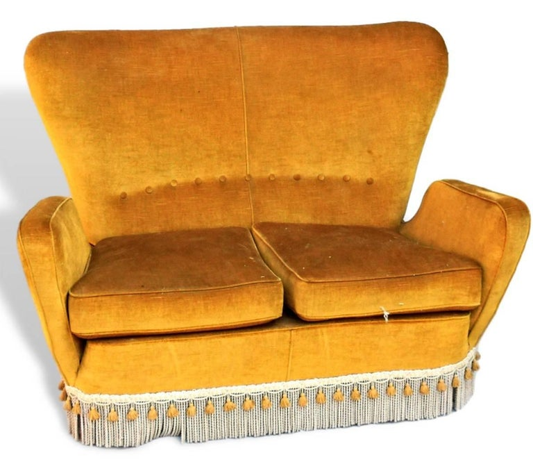 Pictures are showing the unrestored version of the double settee, small sofa that matches the restored armchair.   For all information refer to that description.   Price listed is for the restoration equal and with same fabric of the other to