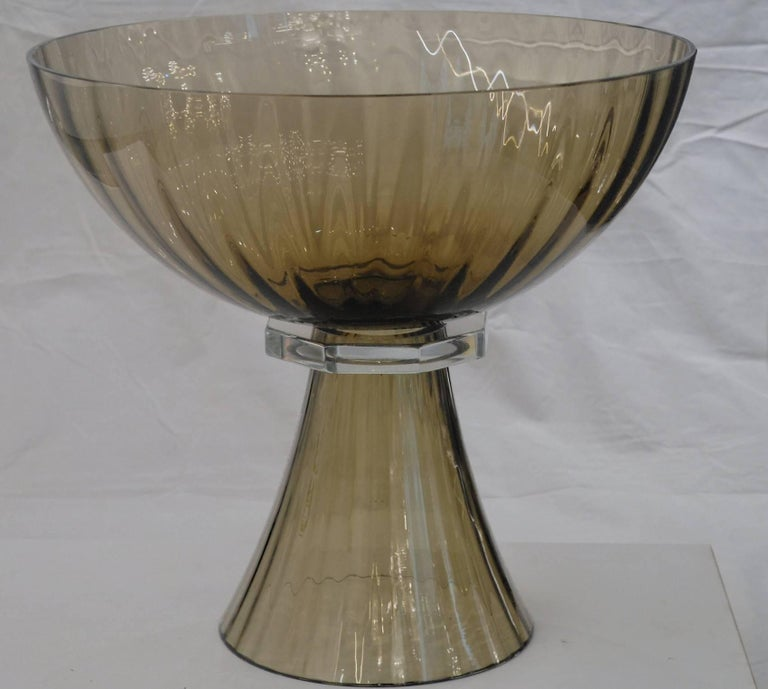 Art Deco Alberto Donà, Footed Bowl, Olive Mezzatinta, Rigadin, Hexagonal Neck, Murano For Sale