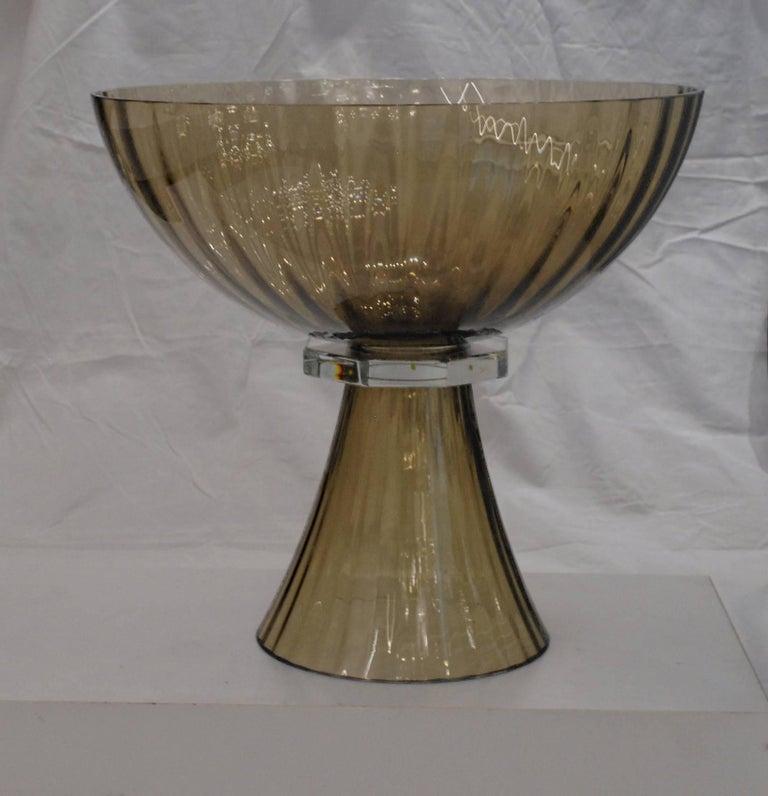 Italian Alberto Donà, Footed Bowl, Olive Mezzatinta, Rigadin, Hexagonal Neck, Murano For Sale