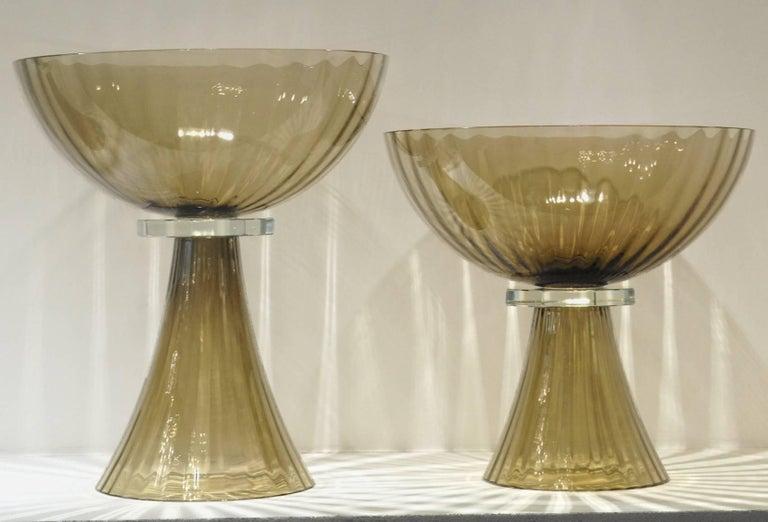 Alberto Donà, Tall Footed Bowl, Olive Mezzatinta Rigadin, Hexagonal Neck, Murano For Sale 1