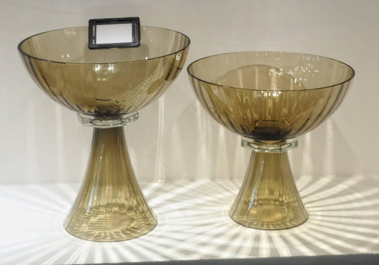 20th Century Alberto Donà, Tall Footed Bowl, Olive Mezzatinta Rigadin, Hexagonal Neck, Murano For Sale
