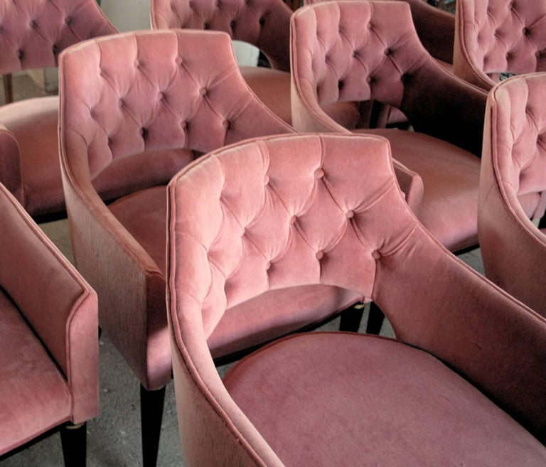 Mid-Century Modern Set of Eight Dining Armchair, Tufted Cotton Velvet, Midcentury Style For Sale