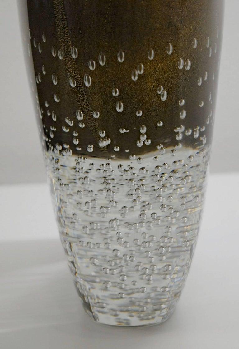 Art Glass Romano Dona Tall Incalmo Black Gold Vase, Murano Sommerso Bubbles Pulegoso For Sale