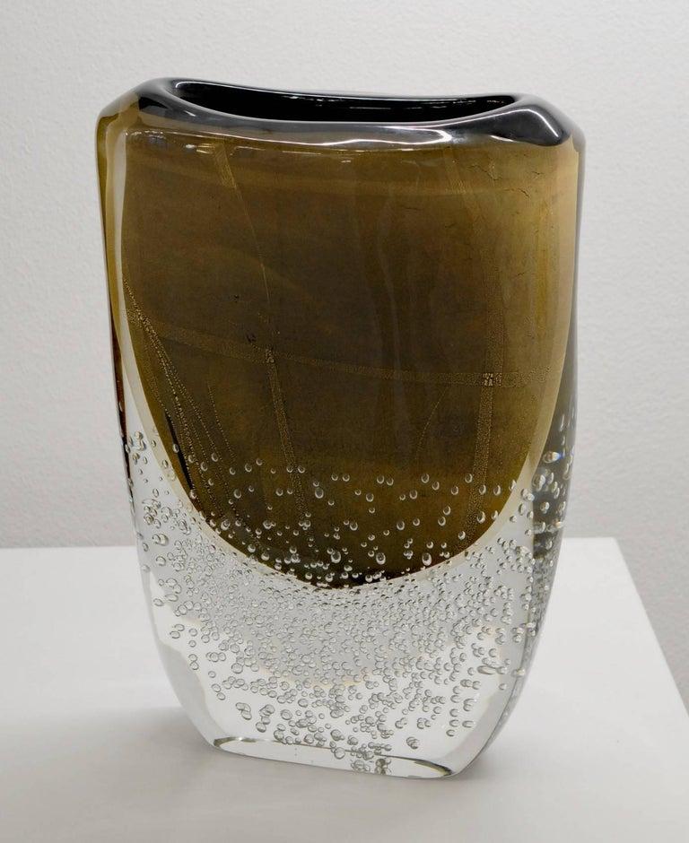 Modern Romano Dona Tall Incalmo Black Gold Vase, Murano Sommerso Bubbles Pulegoso For Sale