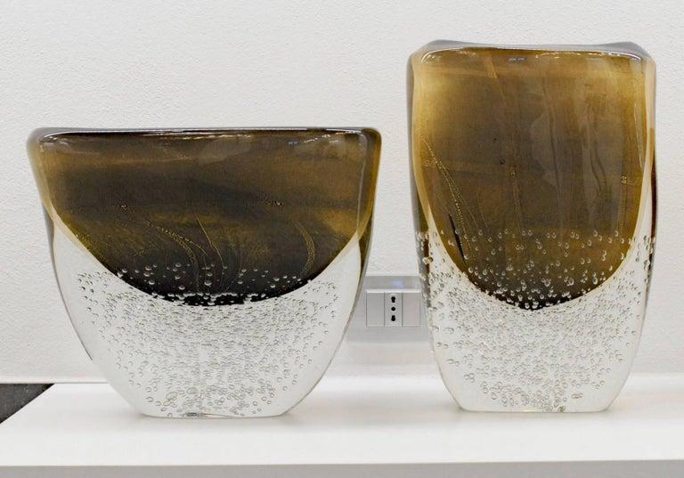 Romano Dona Tall Incalmo Black Gold Vase, Murano Sommerso Bubbles Pulegoso For Sale 2